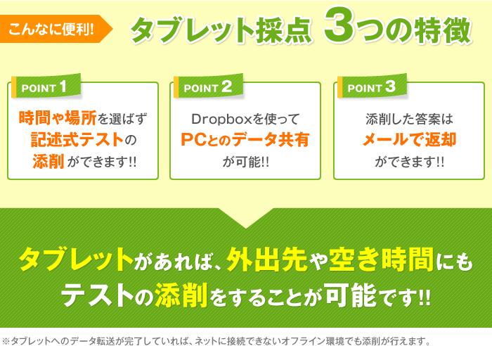 タブレット採点3つの特徴